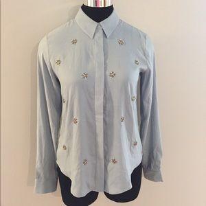 Ann Taylor Button Down Jewel Blouse Shirt Size XS
